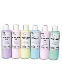 Coffret de 5x250 ml de peinture acrylique pastel assortie