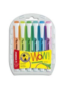 Surligneur Swing Cool pointe biseautée pochette de 6 coloris assortis standard