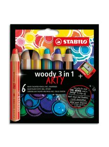 Boîte de 6 crayons de couleur toutes surfaces Woody, pointe extra-large