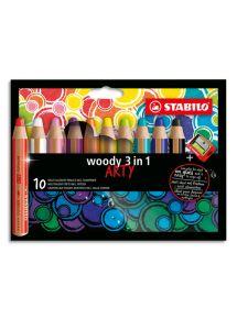 Boîte de 10 crayons de couleur toutes surfaces Woody, pointe extra-large