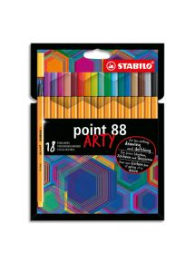 Etui de 18 stylo-feutres Point 88, pointe fine, couleurs assorties