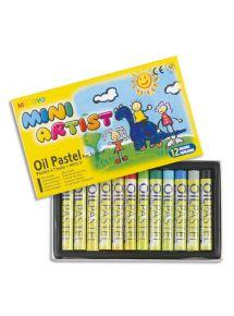 Boîte de 12 pastels à l'huile diamètre 8mm, couleurs assorties