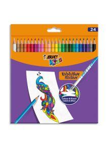 Pochette de 24 crayons de couleur effaçable Kids Evolution Illusion, bout gomme