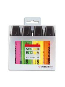 Surligneur Stabilo Boss Original, pointe biseautée, étui de 4 couleurs assorties