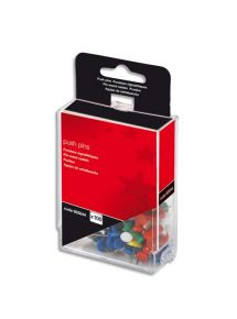 Boîte de 100 punaises de signalisation couleurs assorties
