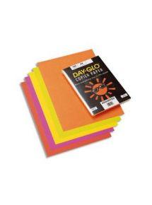 Papier A3, ramette de 100 feuilles assorties fluo (jaune, rose, rouge, vert, orange)