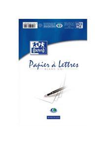 Papier à lettre 21x29,7 cm blanc uni 80g, bloc de 50 feuilles