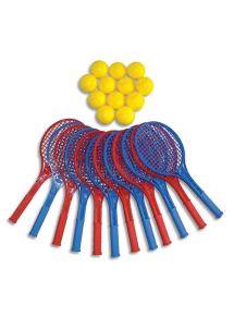Lot de 12 raquettes de tennis et de 12 balles en mousse