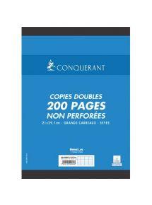 Copies doubles non perforées 21x29,7 cm, grands carreaux, 70g, 200 pages