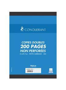 Copies doubles non perforées 21x29,7 cm, petits carreaux, 70g, 200 pages