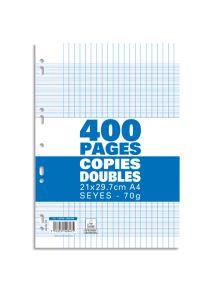 Copies doubles perforées 21x29,7 cm, grands carreaux, 70g, 400pages