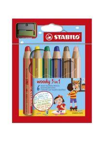 Etui de 6 crayons de couleur courts Woody
