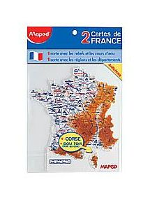 Lot de 2 cartes de France (Départements et fleuves)