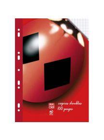 Copies doubles perforées 21x29,7 cm, grands carreaux, 100 pages, 90g