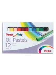 Boîte de 12 pastels à l'huile ø8mm, couleurs assorties
