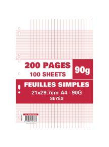 Feuillets mobiles perforées 21x29,7 cm, grands carreaux, 90g, 200 pages