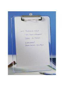 Porte-bloc transparent pour format A4, pince métallique renforcée