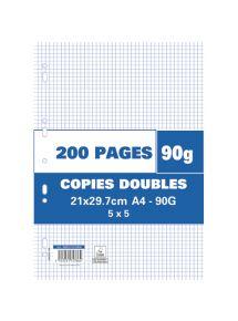Copies doubles perforées 21x29,7 cm, petits carreaux, 90g, 200 pages
