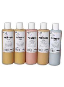 Coffret de 5x250 ml de peinture acrylique métallique assortie