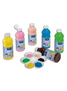 Lot de 6 flacons de 500ml de peinture acrylique