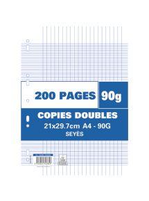 Copies doubles perforées 21x29,7 cm, grands carreaux, 90g, 200 pages