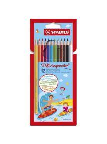 Pochette 12 crayons de couleur AQUACOLOR, mine 2,8mm