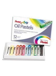 Boîte de 25 pastels à l'huile ø8mm, couleurs assorties