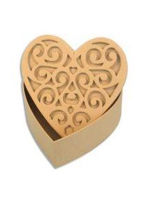 Boîte cœur arabesque en carton 120x120x52mm