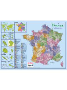 Sous-main rigide 40,5x55 cm, France administrative et routière + Dom Tom