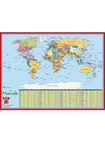 Sous-main rigide 40,5x55 cm, planisphère mondial