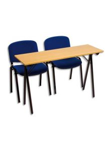 Table de formation pliante en hêtre piétement noir, 120x40 cm
