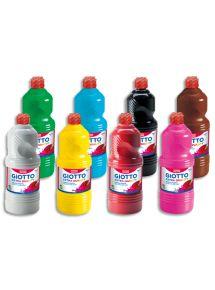 Lot de 8 flacons de 1 litre de gouache, couleurs assorties