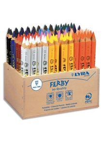 Présentoir bois de 96 crayons de couleur triangulaires Ferby