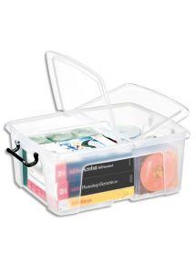Boîte de rangement transparente 24L avec couvercle, 31,7x40,2x17,5 cm