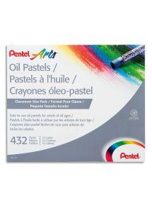 Schoolpack de 432 pastels à l'huile ø8mm, couleurs assorties