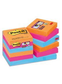 Bloc Post-it Sticky Pétillantes format 5,1x5,1cm, lot de 12 blocs de 4 couleurs assortis