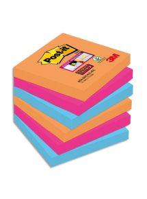 Bloc Post-it Sticky Pétillantes format 7,6x7,6cm, lot de 6 blocs 4 couleurs assortis
