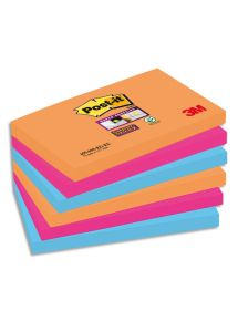Bloc Post-it Sticky Pétillantes format 7,6x12,7cm, lot de 6 blocs de 4 couleurs assortis